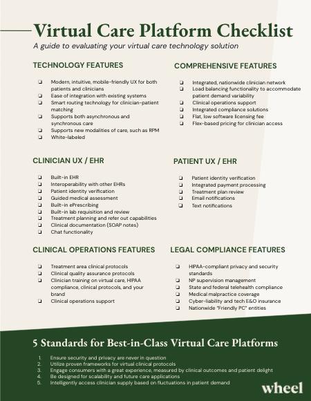 Telehealth platform evaluation checklist